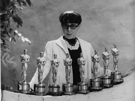 Edith Head Surrounded by her 8 Academy Awards